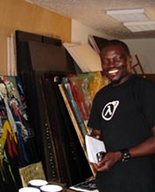 Soly Cissé at his studio in Dakar